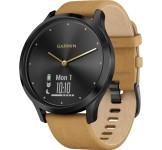 Garmin Vivomove HR Premium Onyx zwart met band van geelbruin suède