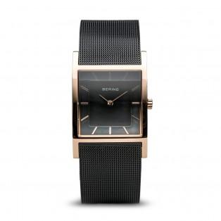 Bering 10426-166-S Black Rosegold Square Curved horloge
