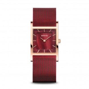 Bering 10426-363-S Red Square Rosegold Curved horloge