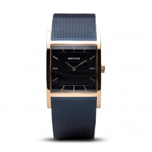 Bering 10426-367-S Blue Rosegold Square Curved horloge