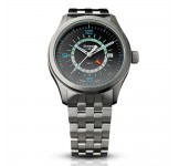 Traser Aurora GMT Silver Steel Horloge