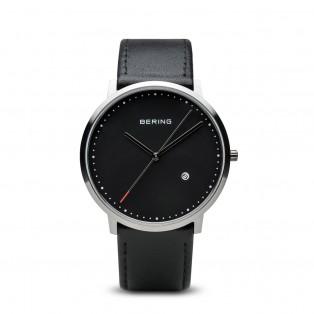 Bering 11139-402 Classic Zilver Zwart Leder Horloge