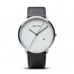 Bering 11139-404 Classic Zilver Zwart Leder Horloge