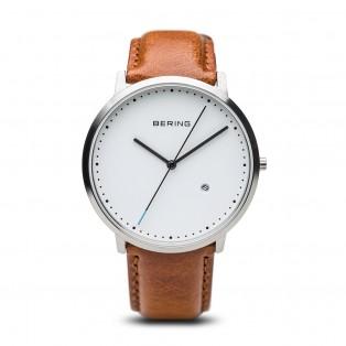 Bering 11139-504 Classic Zilver Bruin Leder Horloge