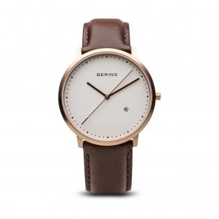Bering 11139-564 Classic Rosegold Bruin Leder Horloge