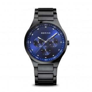 Bering 11740-727 Zwart geborsteld Horloge Blauw