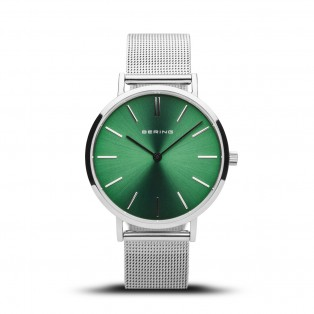 Bering 14134-008 Green 34mm Silver Mesh