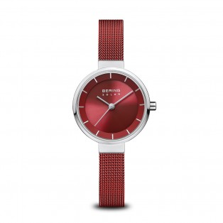 Bering 14627-303 Slim Solar Silver Red Dameshorloge