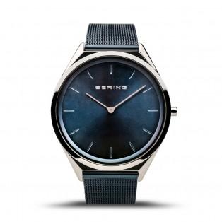 Bering 17039-102 Ultraslim Silver Blue 39mm Horloge