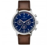 Renard Grande Chrono Blue Silver Veau Brown