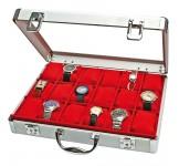 Aluminium Horlogekoffer voor 18 Horloges Rood