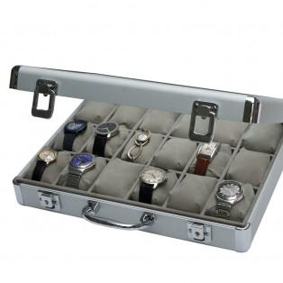 Aluminium Horlogekoffer voor 18 Horloges Grijs