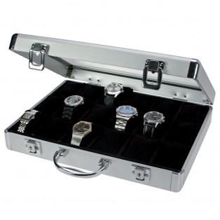 Aluminium Horlogekoffer voor 18 Horloges Zwart