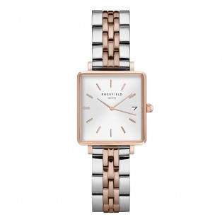 Rosefield The Boxy XS White Sunray Steel Silver Rosegold Duo