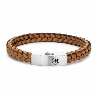 Rebel & Rose Braided Square 925 Cognac Armband M