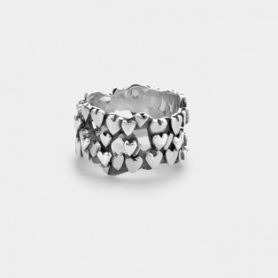 Rebel & Rose Hearts & Hearts Silver Ring RR-RG023-S