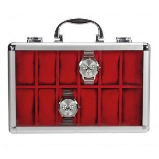 Aluminium Horlogekoffer 12 Rood