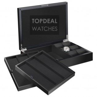 Beco Technic Castle Matt Black Horlogekist voor 12 Horloges