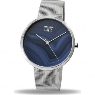 Davis Stone 2334 Blue Agaath Horloge