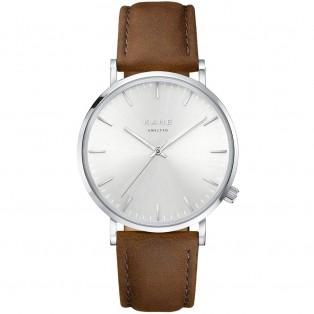 Kane Silver Steel Vintage Brown Horloge