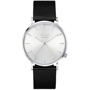 Kane Silver Steel Black Mesh Horloge