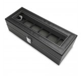 Luxalit Chicago Horlogebox voor 6 horloges Black