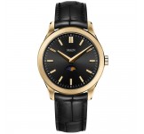 Maen Manhattan 40 Moonphase Gold Jet Black Brushed