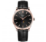 Maen Brooklyn 39 Rose Gold Moonphase Jet Black Horloge