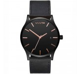 MVMT Classic 45mm Black Leather Rose Horloge