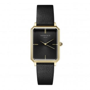 Rosefield The Octagon Black Sunray Black Leather Gold OBSBG-O49
