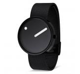 Picto 40mm Zwart Zwart Mesh horloge