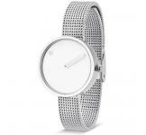 Picto 30mm Wit Zilver Mesh horloge