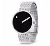 Picto 40mm Zwart Zilver Mesh horloge