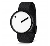Picto 40mm Zwart Wit Zwart Mesh horloge