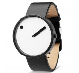 Picto 40mm Zwart Wit Zwart Leer horloge