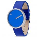 Picto 40mm Kobalt Blauw Leer horloge