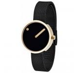 Picto 30mm Zwart Goud Mesh horloge