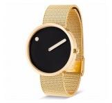 Picto 40mm Zwart Goud Mesh horloge