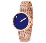 Picto 30mm Blauw Rosegoud Mesh horloge