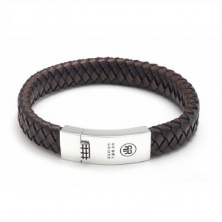 Rebel & Rose Braided Flat Black Earth Armband L