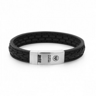 Rebel & Rose 2 Stranded Braid Black Armband L