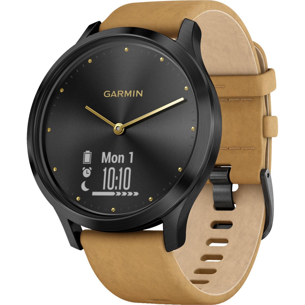Garmin Vivomove HR Premium Onyx zwart met band van geelbruin su�de