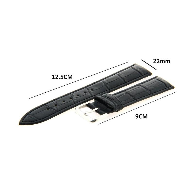 Lederen Horlogeband 22mm Zwart