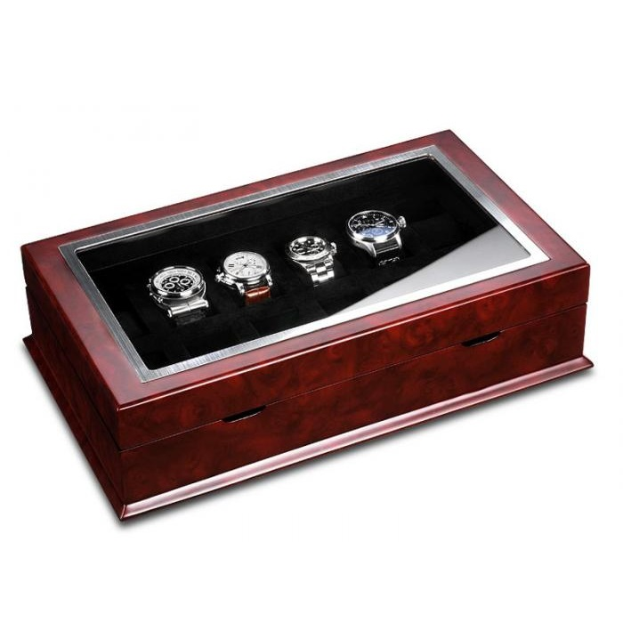 Ferocase Poseidon Burlwood Horlogekist Voor 12 Horloges