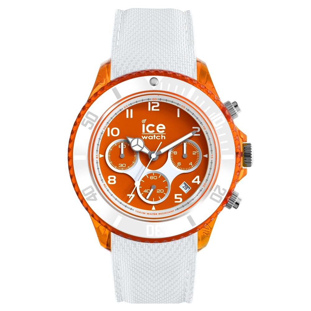 Ice-Dune Chrono Large White Orange Horloge