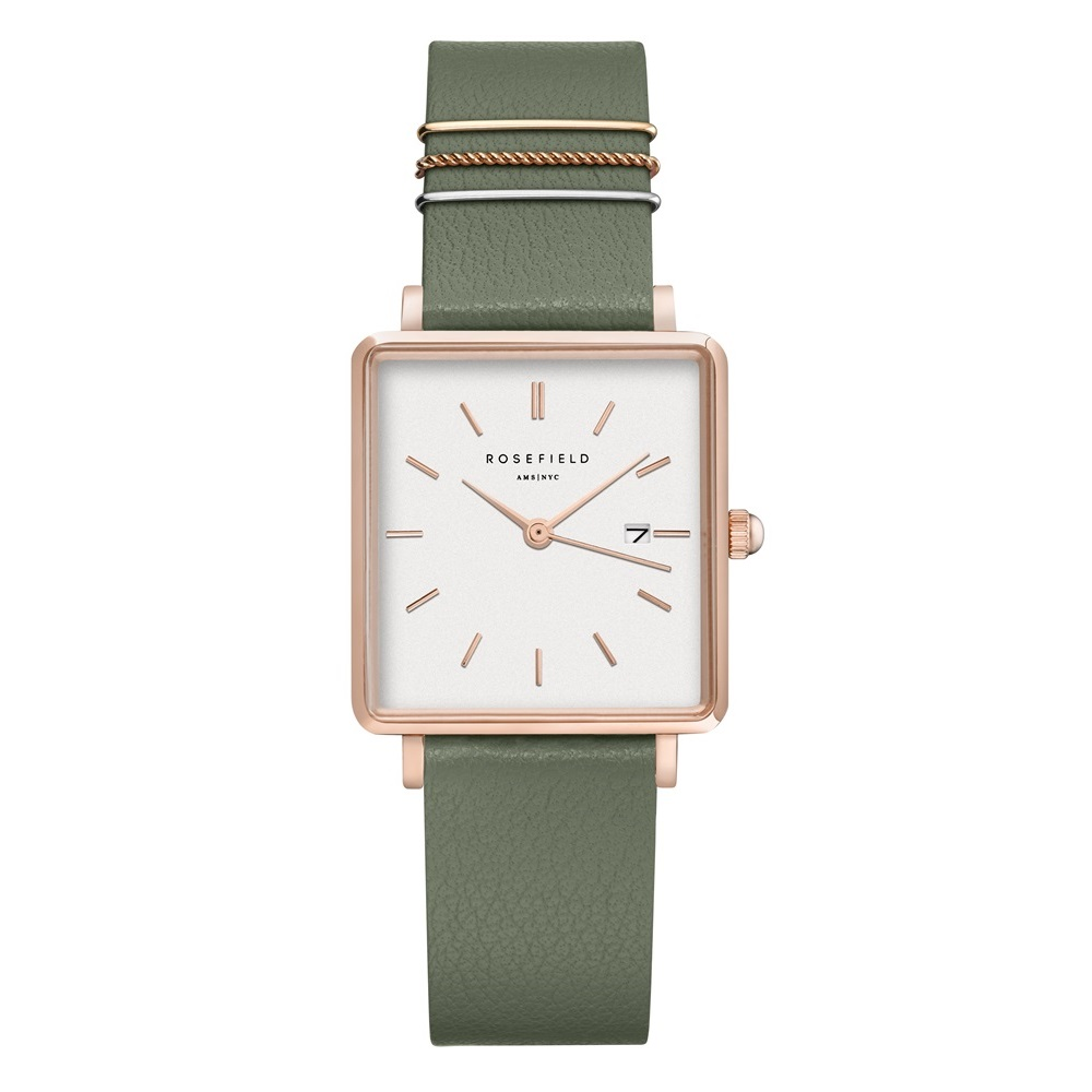 Rosefield The Boxy White Fresh Olive Green Rosegold