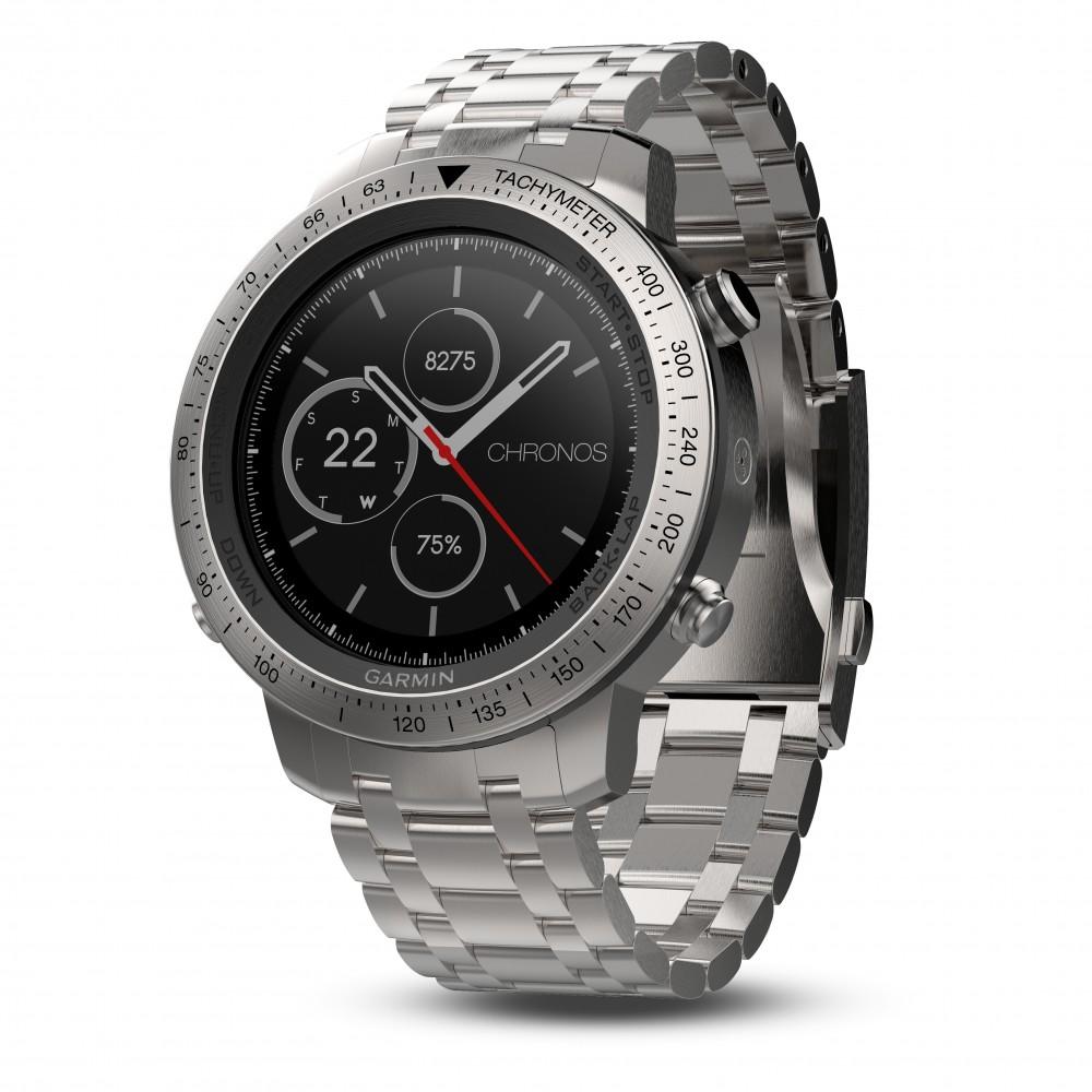 Garmin Fenix Chronos Horloge met RVS Polsband.