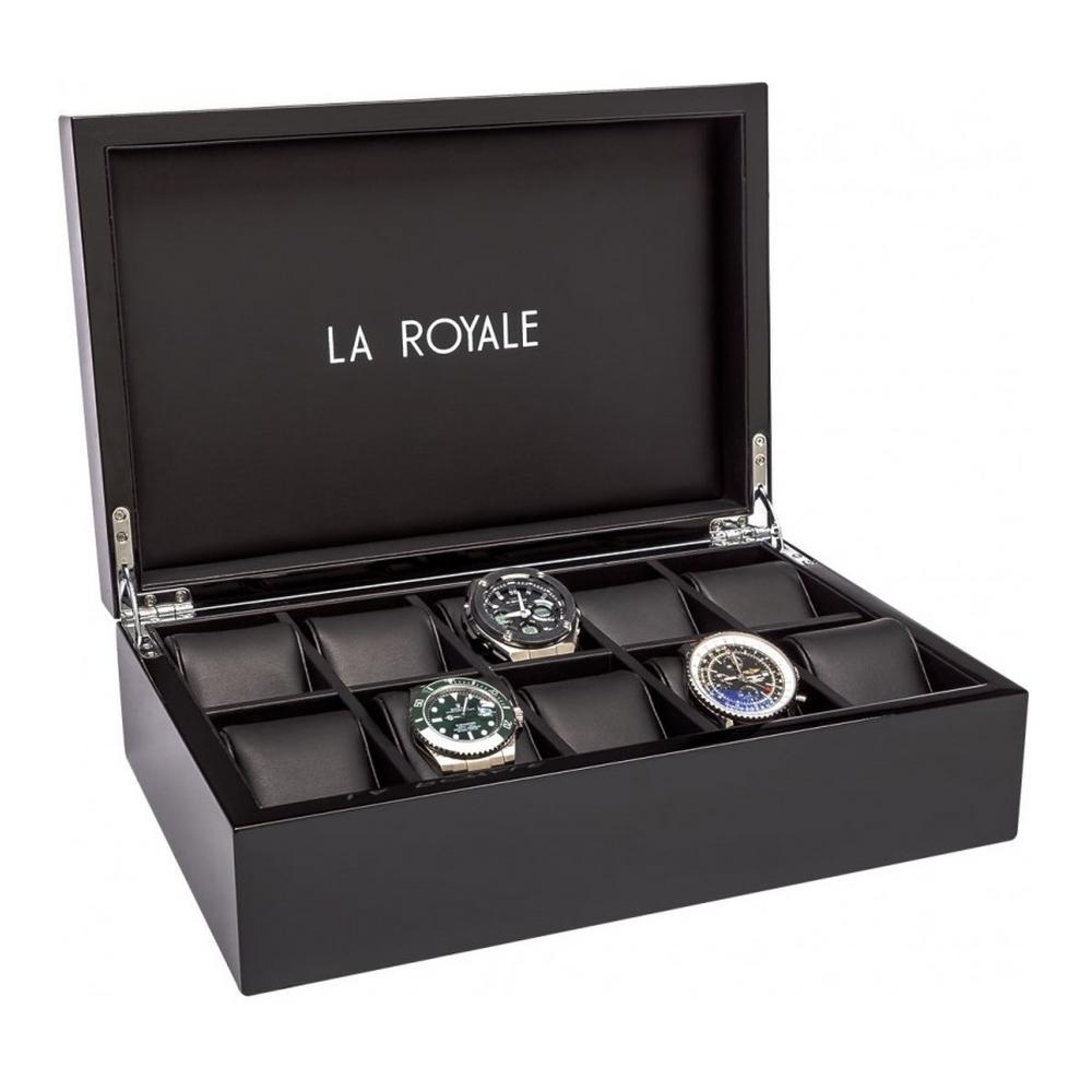 La royale felice een elegante, zwart hoogglans gelakte horlogekist voor het opbergen van tien horloges. de ...