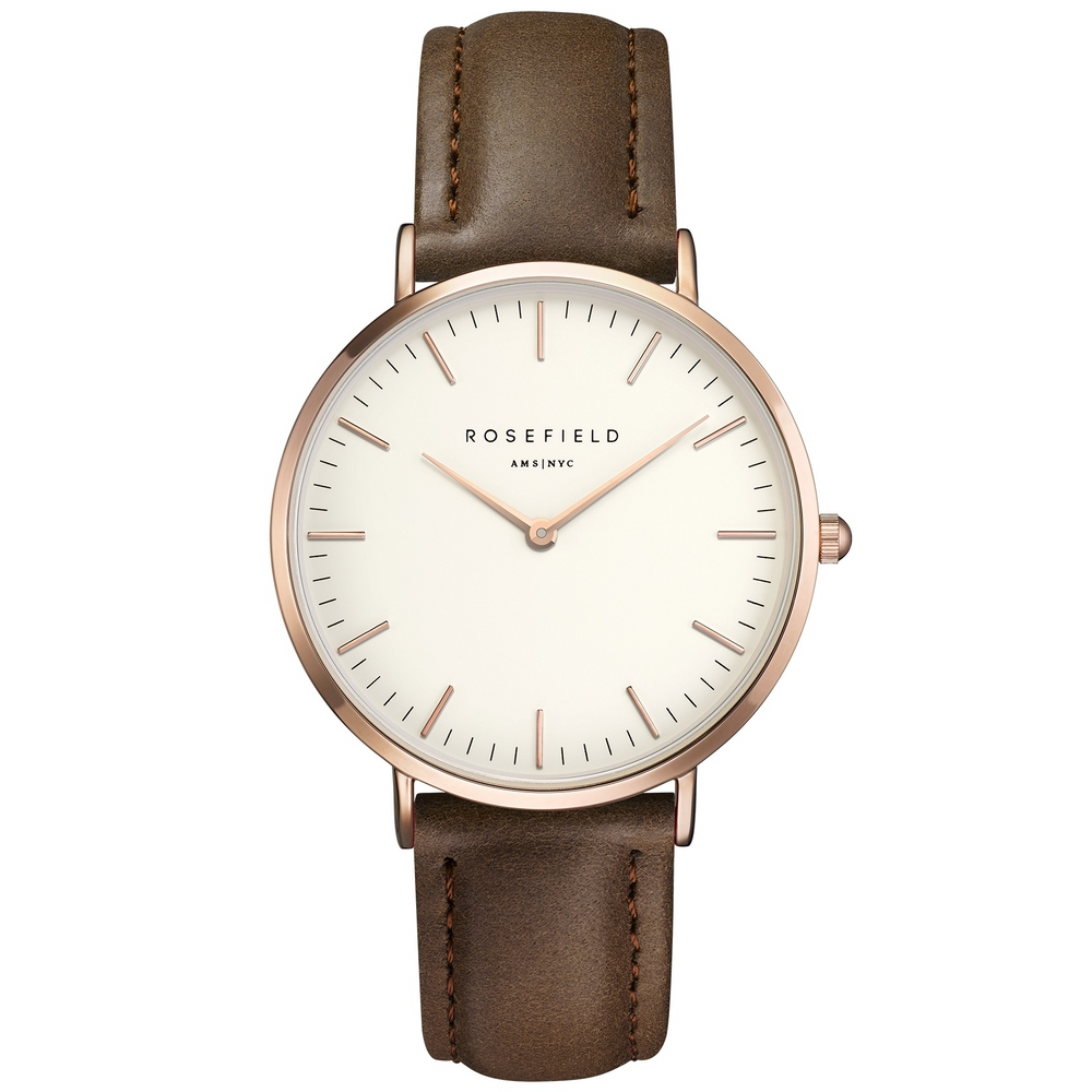 Rosefield the Bowery 38mm White Brown Rosegold BWBRR-B3