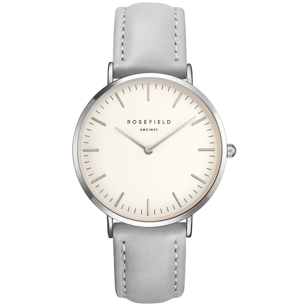 Rosefield the Bowery 38mm White Grey Silver BWGS-B10